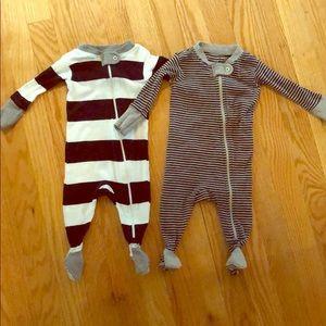 2 Burt's Bees Zip-Up Pajamas